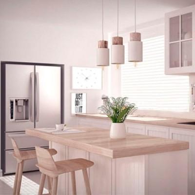 Cocina Nórdica blanca y madera