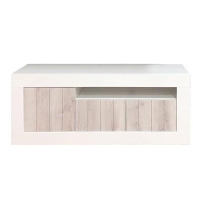 Mueble tv blanco y madera
